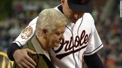 Cal Ripken and his mother at his 2001 retirement ceremony in Baltimore.