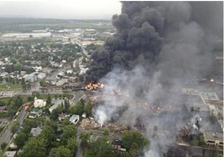 The Lac-Mégantic, Quebec explosion killed 47 people. July 6, 2013.