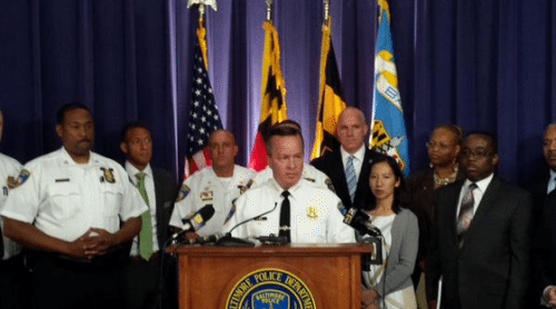 BPD Interim Commissioner Kevin Davis announces the arrest, via Baltimore Police